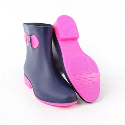 moda breve cilindro fermaglio Ms. stivali da pioggia rose red