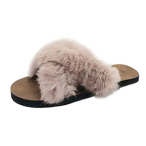 UFACE Damen pelzigen Flachen Slip Hausschuhe Flauschigen Kunstpelz Indoor Outdoor Flache Ferse Sandalen Slipper Freizeitschuhe(Khaki,35EU)