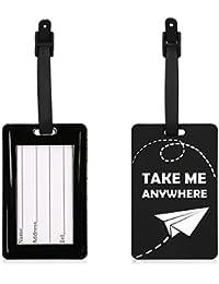 kwmobile Etiqueta para Maleta - Tarjeta de identificación de [Silicona] para Equipaje - Colgante para Maleta con diseño