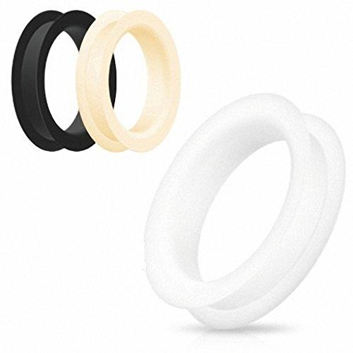 Weicher Flexibler Silikon Gummi Ohr Tunnel Flesh Plug Stopfen in Schwarz Weiß Grün Blau Gelb Peach/Hautfarben oder Rot (3 bis 51 MM) - Freie Farb- und Größenwahl