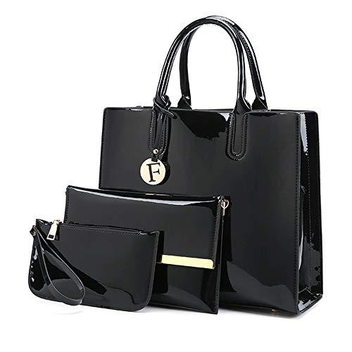 HWG Lackleder Handtaschen 3 STÜCKE Lackiert Schulter Crossbody Tasche Für Frauen Casual Tote Messenger Bags Set Kupplung,Black-B