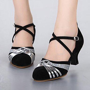 Silence @ Chaussures de danse pour femme Cuir Cuir Paillettes scintillantes Paillettes scintillantes Latin Jazz talons Heelpractice débutant Red