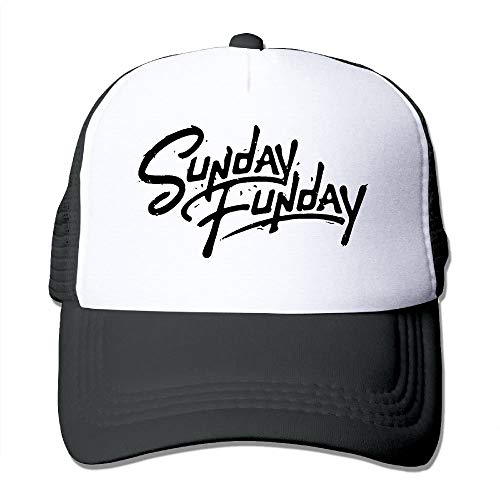 Gorgeous ornaments Unisex-Adult Sunday Funday Flat Billed Baseball Cap Hat Black (Power Blue Cap Newsboy)