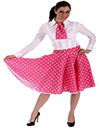 LADIES 1950'S ROCK AND ROLL SKIRT N SCARF, PINK & WHITE POLKA DOTS SIZE 8-12 UK