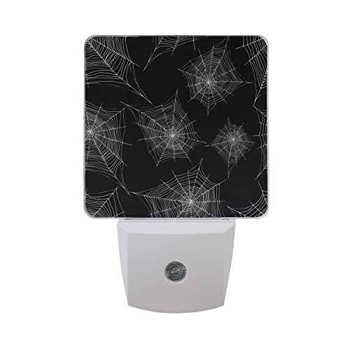 DFISKK Nachtlicht Set of 2 Decorative Cobweb Silver Color Outline Halloween Spider Web On Black Auto Sensor LED Dusk to Dawn Night Light Plug in Indoor for Adults (Halloween Leuchten Spider Web)