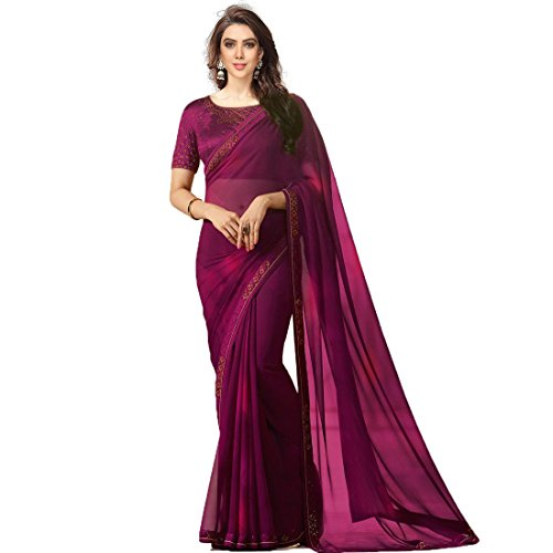 Macube women New Designe Georgette saree with blouse piece(Multi_color_free_size) (Wine)