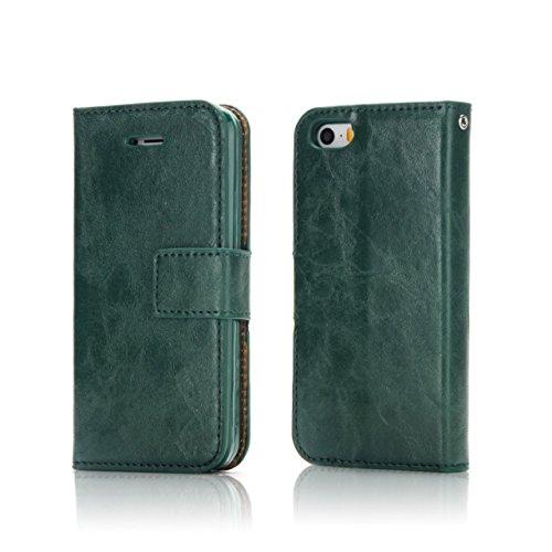 EKINHUI Case Cover Verrückte Pferd Textur Abnehmbare Design PU Leder Geldbörse Tasche Tasche mit Kartensteckplätzen für iPhone 5 & 5s & SE ( Color : White ) Green