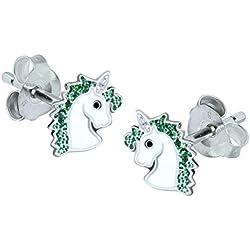 Unicornio pendientes–plata de ley–Color Verde Brillante