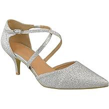 Fashion Thirsty heelberry Mujer Bajo Tacón Bajo Fiesta Baile Tiras Zapatos de Salón Boda Sandalias Números