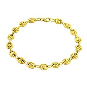 Tousmesbijoux Bracelet maille grain de café 21 cm Or jaune 375/00
