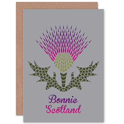 Wee Blue Coo LTD Graphic Bonnie Scotland Thistle Purple Art Greetings Greeting Card Purple Thistle