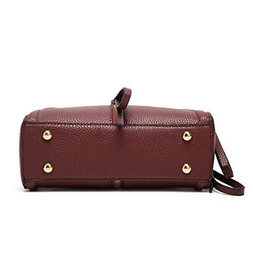 FZHLY Retro In Pelle Di Alta Qualità Delle Borse Delle Signore Shoulder Bag Messenger,WineRed WineRed