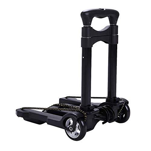 GUOOK Faltender Laufkatzentragbarer Hand-LKW-Flacher Gepäckwagen, Leichter Warenkorb mit Rädern für Fracht und Einkauf (Farbe: Ohne Tasche) - Flache Warenkorb