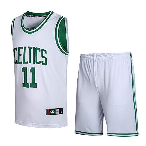 BEOOKEK Sport Herren-Basketballtrikots Kyrie Irving # 11 Herren-Basketballtrikot Boston Celtics New Jersey Besticktes Jersey (Größe: S-XXXL) White-M -