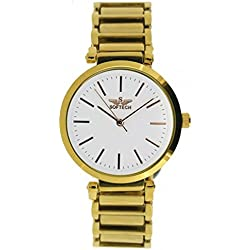 Softech Gold Plated Dial & Strap White Face Bracelet Metal Wrist Watch Analog Quartz with One Extra Battery