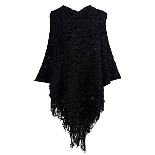 ESHOO Femmes Poncho Châle Tricot Col V Cape Echarpe Avec Gland Automne Hiver Chaud Manteau Élégant Noir