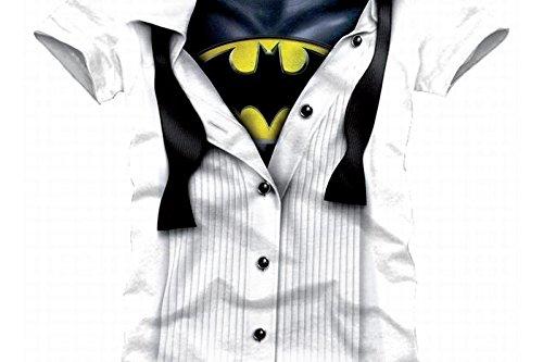 Batman Blouse T-Shirt weiß XXL (Dc Women's Harley Quinn Kostüm)