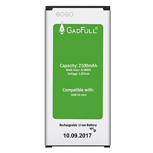 GadFull Akku für Samsung Galaxy S5 mini | 2017 Baujahr | Entspricht dem original EB-BG800BBE Lithium-Ionen-Akku der Modelle SM-G800F | Duos SM-800H| Ersatz Handy-Akku für Ihr Smartphone | Perfekt als Ersatz-Akku