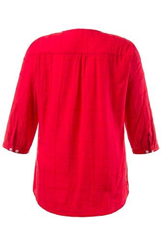 Ulla Popken Femme Grandes Tailles Top Femme Été Haut Blouse T-Shirt avec 3/4 Manches Tee-Shirts à Manches Longues Blouse Chemise 709278 Fraise