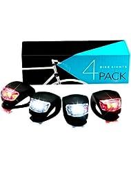 Lámpara para Bicicleta, SGODDE Luz de Bicicleta 2 x Rojo Iluminación 2 x Blanco Leuchten Agua Densidad Linterna Potencia del Paquete Silicona Leuchten Juego para Niño Fahrrads Mountain Bikes