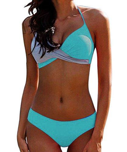 ZAFUAZ-EU Damen Bikini-Set Gr. (38/40 DE) Small, Blue-b