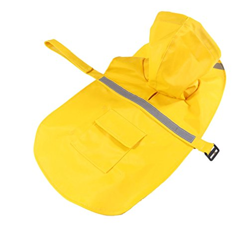 Generic Reflective Dog Raincoat Jacket Hooded Rainwear Poncho Slicker Yellow-XXXL