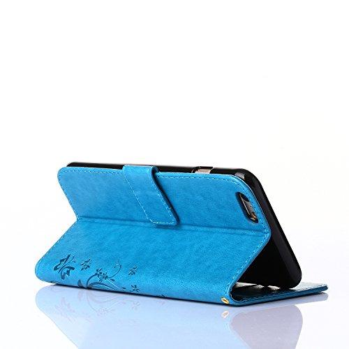 Custodia per Apple iPhone 4s,TOCASO Bianco Flip Wallet Case PU Pelle [Strap/Lanyard] Caso per Apple iPhone 4s Portafoglio Cover Ultra Sottile Leather Protettivo Cases Covers Shell ID Carta Slots Caso  Blu