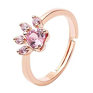 Fingerring CrystalTears Tiny Paw, mit Pfotenmotiv, verstellbarer Ring, Farbe Rosé