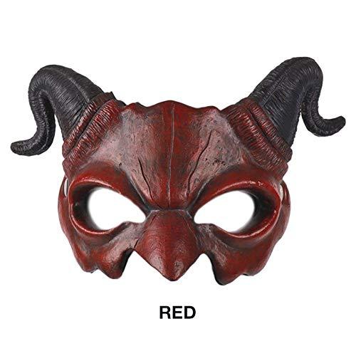 Halloween Schaum - Dämon-Ziegen-Mann-halbe Gesichtsmaske, Halloween Tiermaske PU-Schaum-Horn 3D