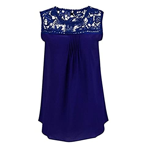 CYBERRY.M Femme Dentelle Sans Manches Chiffon Tank Plissé T-shirt Blouse Chemise Top Tank (XXXXL, Bleu)
