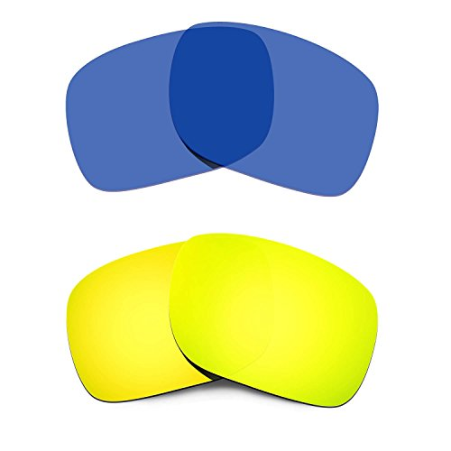 HKUCO Replacement Lenses For Oakley Holbrook Gold/Transparent Blue Polarized