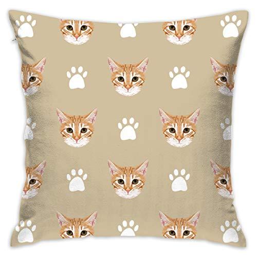 guolinadeou Beautifully Decorated Home Orange Tabby Cat Kitten Kitty Cute Cat Cats Paws Print Khaki Neutral Kitten Throw Pillow Case 18X18 Inches -