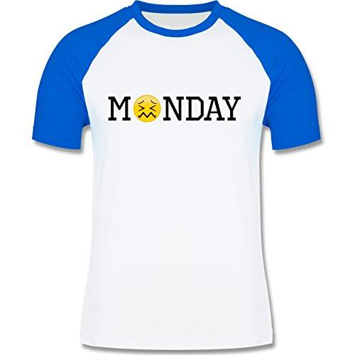Statement Shirts - Monday Emoji - zweifarbiges Baseballshirt für Männer Weiß/Royalblau