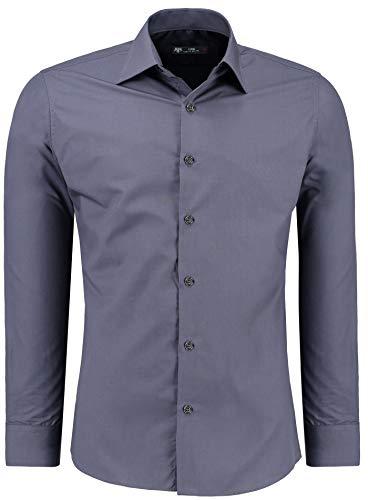TMK Herren Hemd - Slim - Fit - Langarm - Premium Bügelleicht Hemden für Business, Freizeit, Hochzeit, Party für Männer (L, Anthrazit)