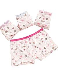 ARAUS Niños Calzoncillos de Algodón Boxer Bowknot Panties Braga Braguita Bebés Pequeños Pack de 4, 2-10Años
