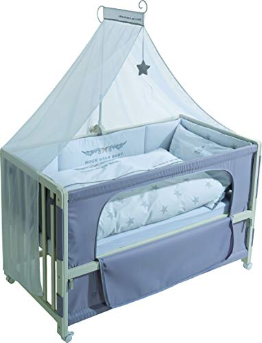 roba Beistellbett, Roombed, Babybett 60x120 cm' Rock Star Baby 2, Anstellbett zum Elternbett mit kompletter Ausstattung
