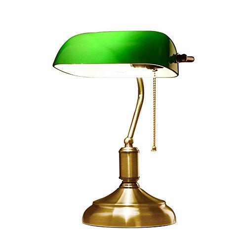 Acryl Schatten-tischleuchte (XIANGYU Retro traditionellen Stil Banker Lampe tischlampe Tischleuchte & Grünem glas schatten, Banker schreibtisch Lampe für wohnzimmer büro studie Lesen metall schreibtischlampe)
