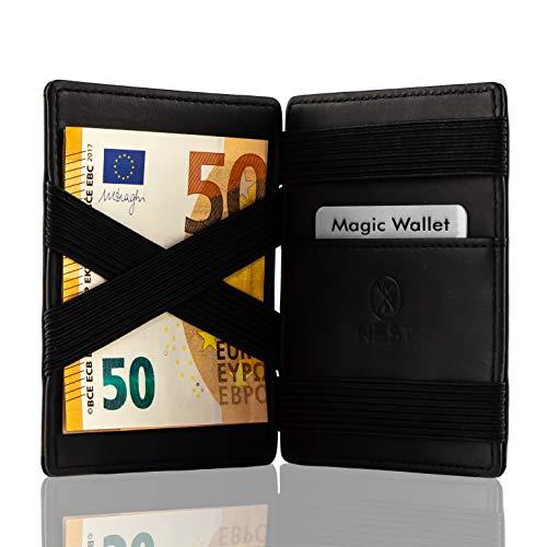 West - Magic Wallet - Das ORIGINAL - Geldbeutel mit Münzfach - Datenschutz Dank RFID - inklusive Edler Geschenkbox - Der perfekte Begleiter für unterwegs (Schwarz) ... -