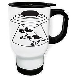 Taza Abducción de vaca OVNI negra - Taza de viaje térmica de color blanco 14oz 400ml