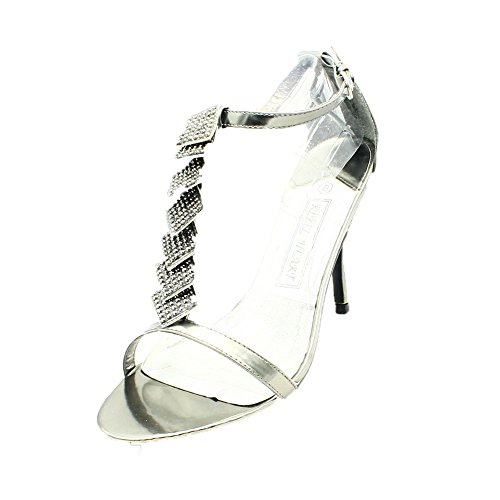sendit4me Signore Diamante Partito Scarpe/Sandali Pewter