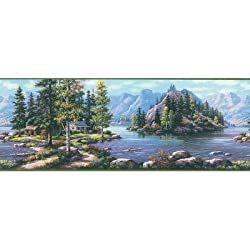Brewster 145b87725 Northwoods Lodge Bunyan Blue Mountain Cabin Border Wallpaper By Brewster