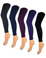1 bis 5 Damen Leggings Rippstrick 150 DEN Blickdicht Leggins Gerippt Schwarz Lila Blau Grau - 89599 - Sockenkauf24