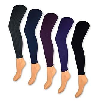 1 bis 5 Damen Leggings Rippstrick 150 DEN Blickdicht Leggins Gerippt Schwarz Lila Blau Grau - 89599 - Sockenkauf24 (L/XL = 44-48, Blau)