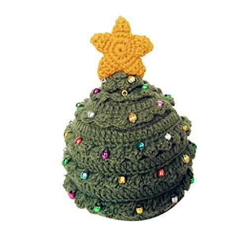 BIKETAFUWY Weihnachten Strickmütze, Lustige Wintermütze Wollmütze Winterurlaub Weihnachtsbaum Sterne Männer Und Frauen Häkeln Warme Klassische Und Weiche Hut Eltern-Kind-Kappe Winter Hut