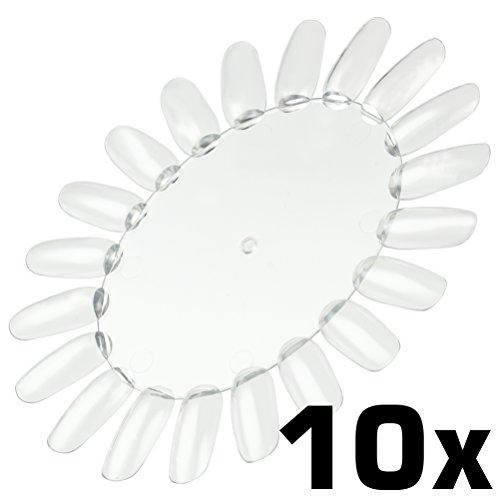 Espositore per unghie, 10 pezzi, [colore: trasparente] rotella di 20 unghie, da dipingere con gel UV smalto Nail Art