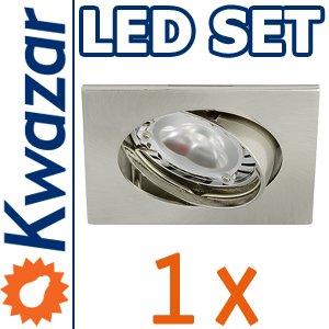 SUPER SET: K-4 Schwenkbares Einbaustrahler + POWER LED 3x1W! 35W! + GU10 Fassung 230V von Kwazar Leuchte