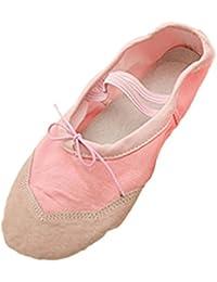TOOGOO(R)apatos del ballet del baile rosado suave de chicas Reino Unido 4.5