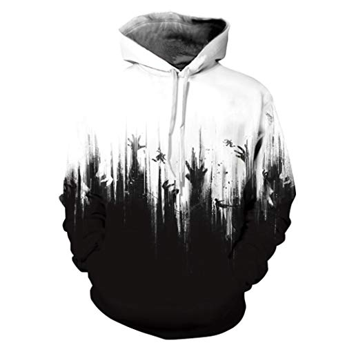 UFACE Herren Herbst und Winter Blood Print Digital Print Halloween Kapuzenpullover Frauen Männer Blut 3D Druck Langarm Hoodie Sweatshirt Pullover Top(F,XL)