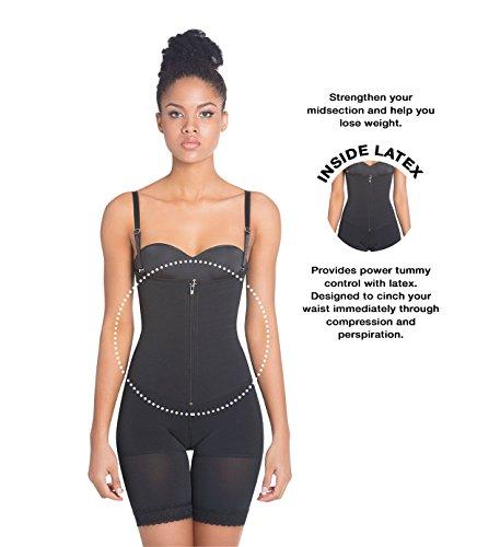 Siluet extra-strength compressione Braless mid-thigh Minimizer Body con lattice nero Black M Black