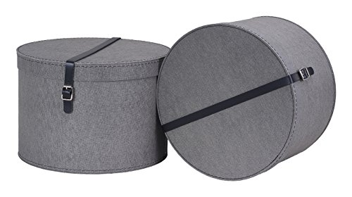 Bigso Box of Sweden 2er-Set Aufbewahrungsbox mit Deckel - runde Ordnungsbox mit Lederriemen - große und kleine Hutschachtel aus Faserplatte und Papier in Leinenoptik - grau (Papier-boxen Deckel Mit)